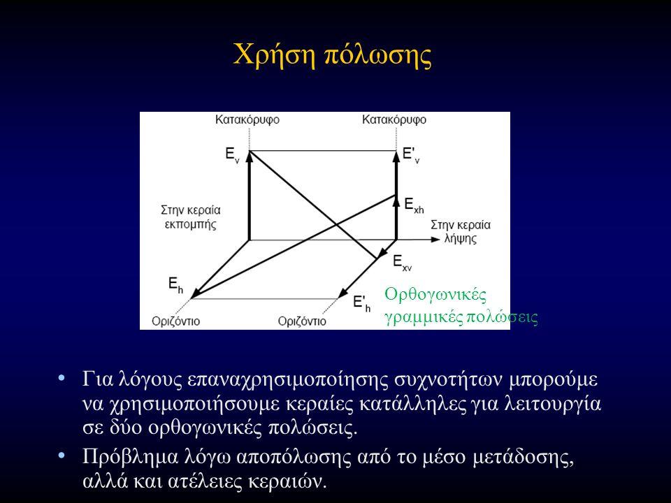 Χρήση πόλωσης Για λόγους επαναχρησιμοποίησης συχνοτήτων μπορούμε να χρησιμοποιήσουμε κεραίες κατάλληλες για λειτουργία σε δύο ορθογωνικές πολώσεις.