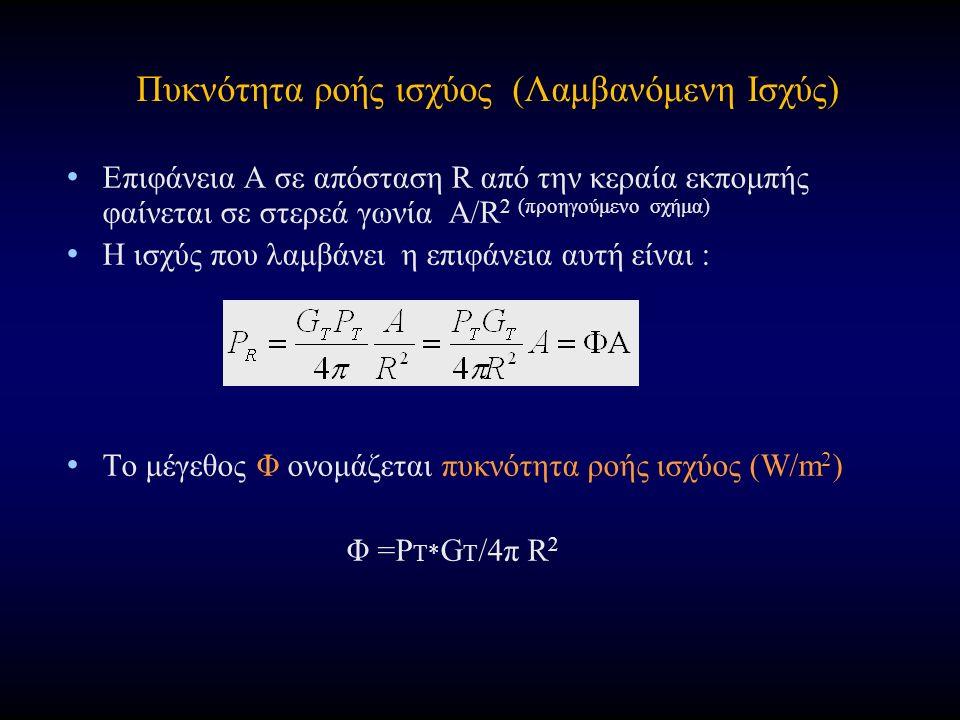 Πυκνότητα ροής ισχύος (Λαμβανόμενη Ισχύς) Επιφάνεια Α σε απόσταση R από την κεραία εκπομπής φαίνεται σε στερεά γωνία Α/R 2 (προηγούμενο σχήμα) H ισχύς που λαμβάνει η επιφάνεια αυτή είναι : Το μέγεθος Φ ονομάζεται πυκνότητα ροής ισχύος (W/m 2 ) Φ =P T* G T /4π R 2