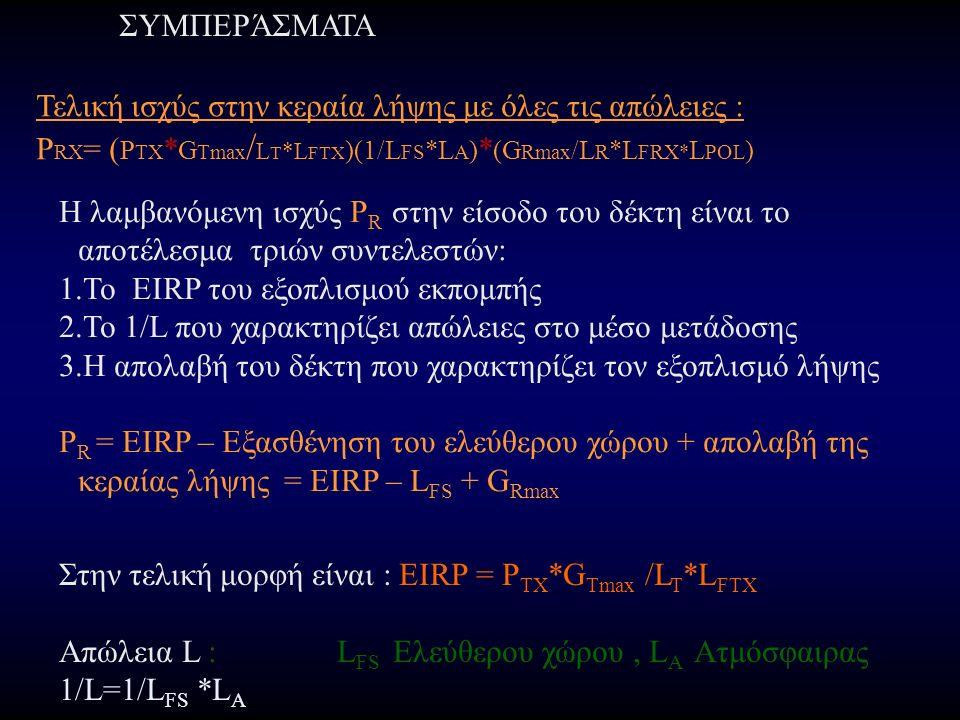 ΣΥΜΠΕΡΆΣΜΑΤΑ Τελική ισχύς στην κεραία λήψης με όλες τις απώλειες : P RX = ( P TX * G Tmax / L T *L FTX )(1/L FS *L A ) * (G Rmax /L R *L FRX* L POL ) Η λαμβανόμενη ισχύς P R στην είσοδο του δέκτη είναι το αποτέλεσμα τριών συντελεστών: 1.Το EIRP του εξοπλισμού εκπομπής 2.Το 1/L που χαρακτηρίζει απώλειες στο μέσο μετάδοσης 3.Η απολαβή του δέκτη που χαρακτηρίζει τον εξοπλισμό λήψης P R = EIRP – Εξασθένηση του ελεύθερου χώρου + απολαβή της κεραίας λήψης = EIRP – L FS + G Rmax Στην τελική μορφή είναι : EIRP = P TX *G Tmax /L T *L FTX Απώλεια L : L FS Ελεύθερου χώρου, L A Ατμόσφαιρας 1/L=1/L FS *L A