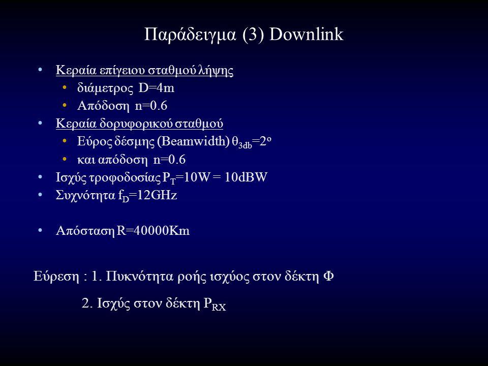 Παράδειγμα (3) Downlink Κεραία επίγειου σταθμού λήψης διάμετρος D=4m Απόδοση n=0.6 Κεραία δορυφορικού σταθμού Εύρος δέσμης (Beamwidth) θ 3db =2 o και απόδοση n=0.6 Ισχύς τροφοδοσίας P T =10W = 10dBW Συχνότητα f D =12GHz Απόσταση R=40000Km Εύρεση : 1.