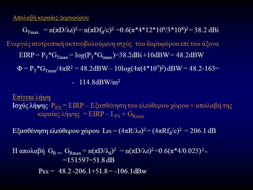 Απολαβή κεραίας Δορυφόρου G Tmax = n(πD/λ d ) 2 = n(πDf d /c) 2 =0.6(π*4*12*10 9 /3*10 8 ) 2 = 38.2 dBi Ενεργός ισοτροπική ακτινοβολούμενη ισχύς του δορυφόρου επί του άξονα EIRP = P T *G Tmax = log(P T *G tmax )=38.2dBi +10dBW = 48.2dBW Φ = P T *G Tmax /4πR 2 = 48.2dBW – 10log(4π(4*10 7 ) 2 ) dBW = 48.2-163= - 114.8dBW/m 2 Επίγεια λήψη Ισχύς λήψης P RX = EIRP – Εξασθένηση του ελεύθερου χώρου + απολαβή της κεραίας λήψης = EIRP – L FS + G Rmax Εξασθένηση ελεύθερου χώρου L FS = (4πR/λ d ) 2 = (4πRf d /c) 2 = 206.1 dB Η απολαβή G R = G Rmax = n(πD/λ d ) 2 = n(πD/λ d ) 2 =0.6(π*4/0.025) 2 = =151597=51.8 dB P RX = 48.2 -206.1+51.8 = -106.1dBw