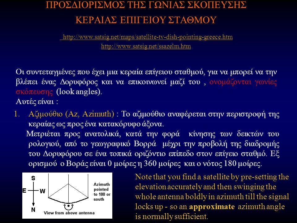 ΠΡΟΣΔΙΟΡΙΣΜΟΣ ΤΗΣ ΓΩΝΙΑΣ ΣΚΟΠΕΥΣΗΣ ΚΕΡΑΙΑΣ ΕΠΙΓΕΙΟΥ ΣΤΑΘΜΟΥ http://www.satsig.net/maps/satellite-tv-dish-pointing-greece.htm http://www.satsig.net/ssazelm.htm http://www.satsig.net/maps/satellite-tv-dish-pointing-greece.htm http://www.satsig.net/ssazelm.htm Οι συντεταγμένες που έχει μια κεραία επίγειου σταθμού, για να μπορεί να την βλέπει ένας Δορυφόρος και να επικοινωνεί μαζί του, ονομάζονται γωνίες σκόπευσης (look angles).