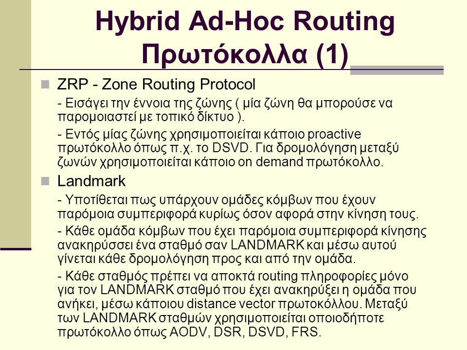 Hybrid Ad-Hoc Routing Πρωτόκολλα (1) ZRP - Zone Routing Protocol - Εισάγει την έννοια της ζώνης ( μία ζώνη θα μπορούσε να παρομοιαστεί με τοπικό δίκτυο ).