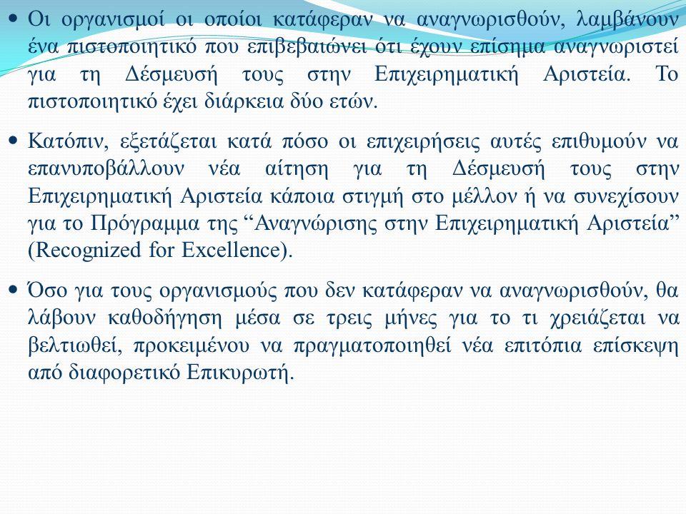 Οι οργανισμοί οι οποίοι κατάφεραν να αναγνωρισθούν, λαμβάνουν ένα πιστοποιητικό που επιβεβαιώνει ότι έχουν επίσημα αναγνωριστεί για τη Δέσμευσή τους σ