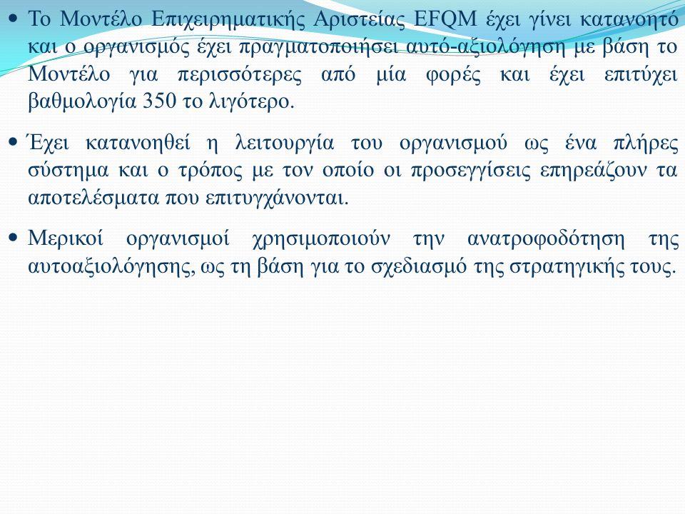 Το Μοντέλο Επιχειρηματικής Αριστείας EFQM έχει γίνει κατανοητό και ο οργανισμός έχει πραγματοποιήσει αυτό-αξιολόγηση με βάση το Μοντέλο για περισσότερ
