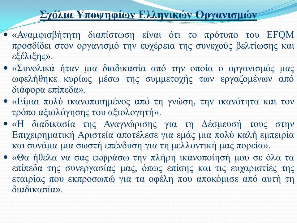 Σχόλια Υποψηφίων Ελληνικών Οργανισμών «Αναμφισβήτητη διαπίστωση είναι ότι το πρότυπο του EFQM προσδίδει στον οργανισμό την ευχέρεια της συνεχούς βελτί