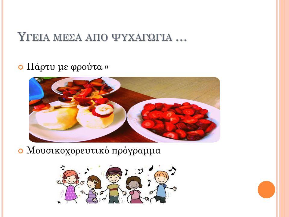 Τ Ι ΠΡΟΣΠΑΘΗΣΑ ΝΑ ΜΑΘΩ ΣΤΑ ΠΑΙΔΙΑ … Ομάδες τροφίμων Τρόφιμα πλούσια σε ωφέλιμα θρεπτικά συστατικά για την υγεία Τρόφιμα που καλό είναι να καταναλώνονται πιο αραιά Σωματική δραστηριότητα-παιχνίδι