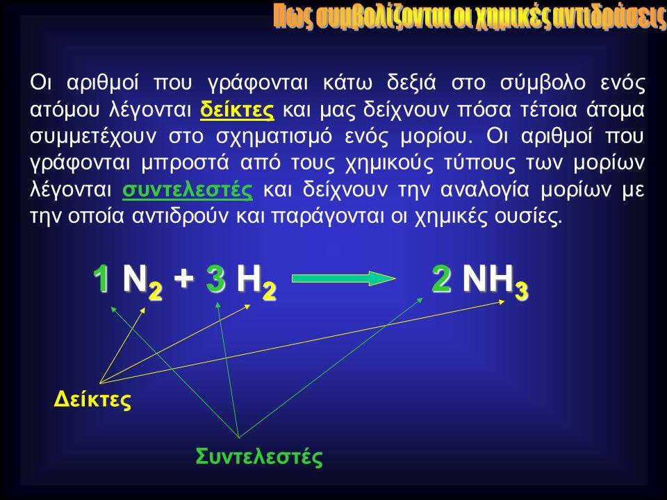 Οι αριθμοί που γράφονται κάτω δεξιά στο σύμβολο ενός ατόμου λέγονται δείκτες και μας δείχνουν πόσα τέτοια άτομα συμμετέχουν στο σχηματισμό ενός μορίου.
