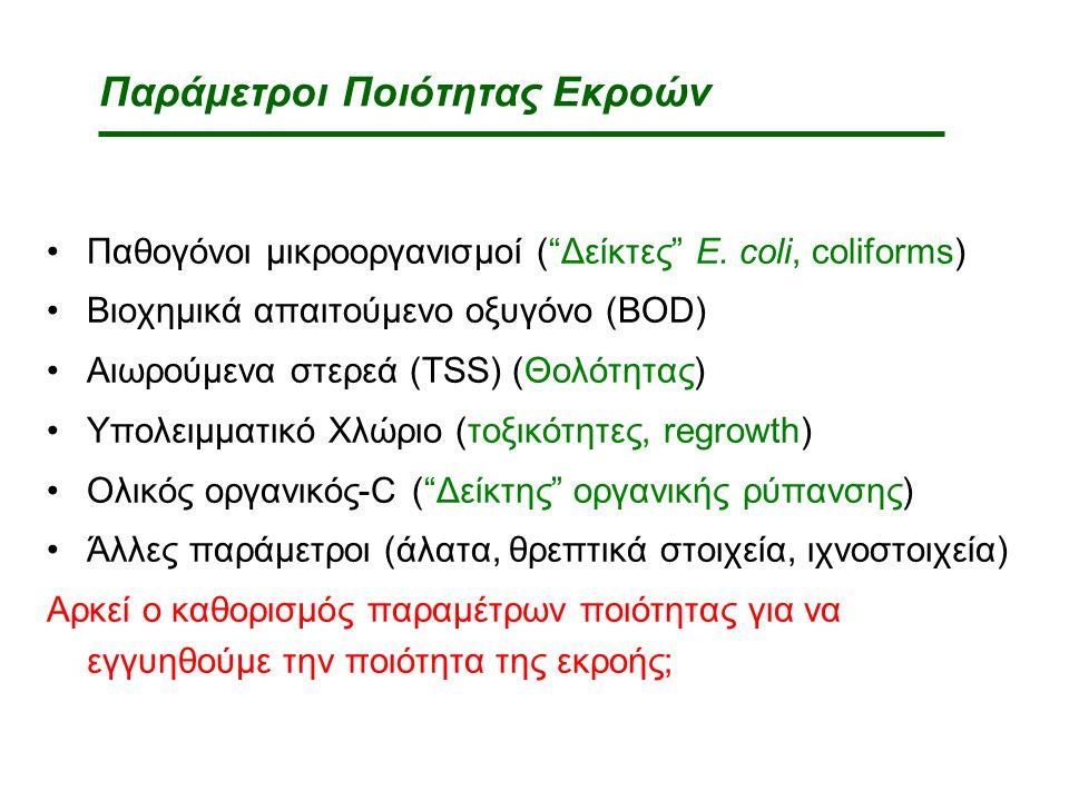Παράμετροι Ποιότητας Εκροών Παθογόνοι μικροοργανισμοί ( Δείκτες E.