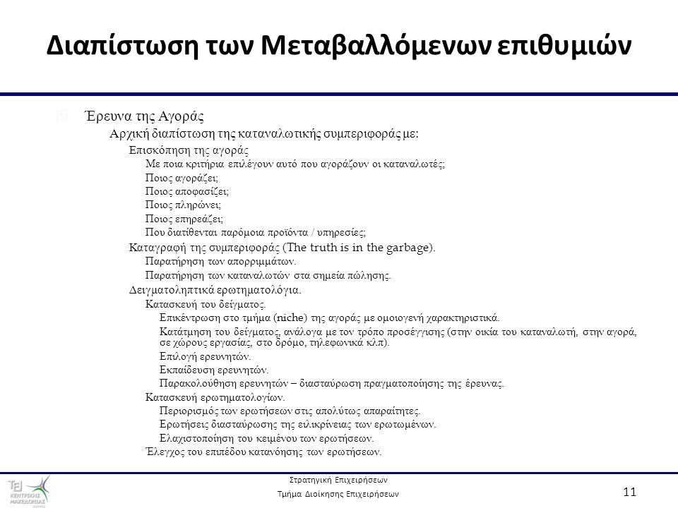 Στρατηγική Επιχειρήσεων Τμήμα Διοίκησης Επιχειρήσεων 11 Διαπίστωση των Μεταβαλλόμενων επιθυμιών  Έρευνα της Αγοράς  Αρχική διαπίστωση της καταναλωτικής συμπεριφοράς με:  Επισκόπηση της αγοράς  Με ποια κριτήρια επιλέγουν αυτό που αγοράζουν οι καταναλωτές;  Ποιος αγοράζει;  Ποιος αποφασίζει;  Ποιος πληρώνει;  Ποιος επηρεάζει;  Που διατίθενται παρόμοια προϊόντα / υπηρεσίες;  Καταγραφή της συμπεριφοράς ( The truth is in the garbage ).