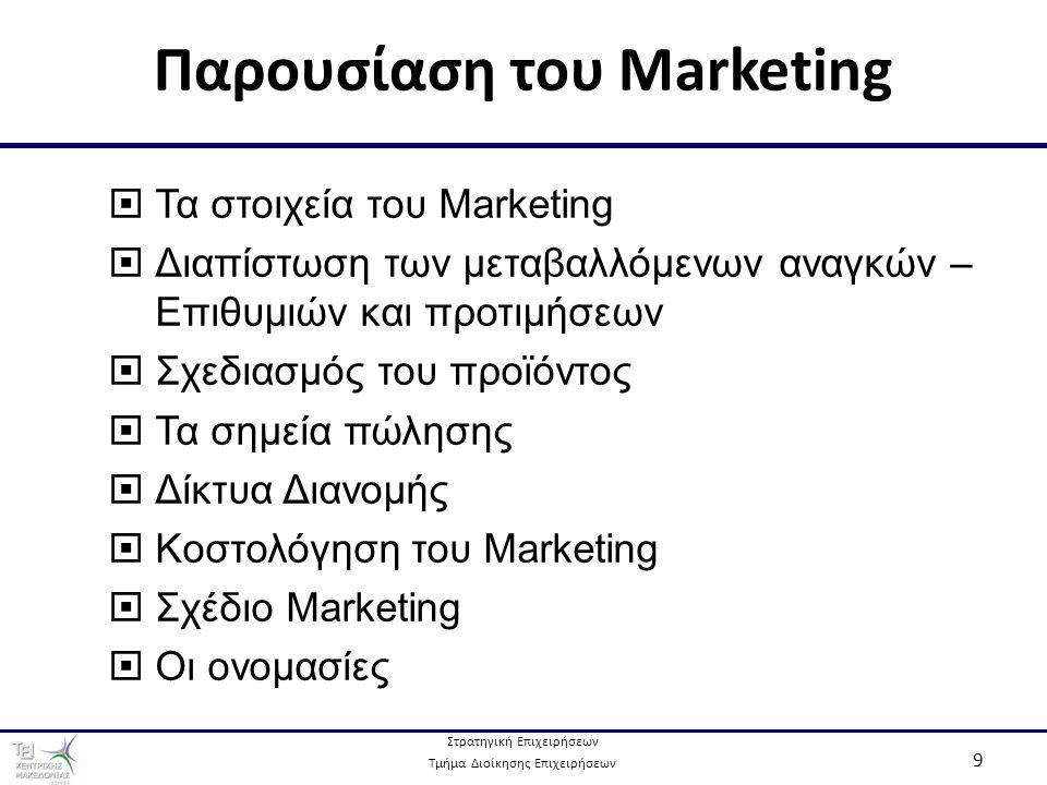 Στρατηγική Επιχειρήσεων Τμήμα Διοίκησης Επιχειρήσεων 10 Τα Στοιχεία του Marketing  Παρακολούθηση των μεταβολών στις ανάγκες και επιθυμίες.