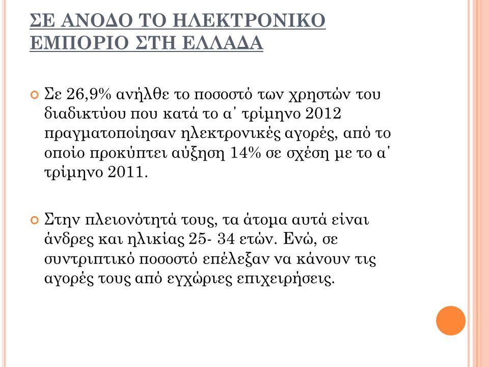 ΣE ΑΝΟΔΟ ΤΟ ΗΛΕΚΤΡΟΝΙΚΟ ΕΜΠΟΡΙΟ ΣΤΗ ΕΛΛΑΔΑ Σε 26,9% ανήλθε το ποσοστό των χρηστών του διαδικτύου που κατά το α΄ τρίμηνο 2012 πραγματοποίησαν ηλεκτρονικές αγορές, από το οποίο προκύπτει αύξηση 14% σε σχέση με το α΄ τρίμηνο 2011.