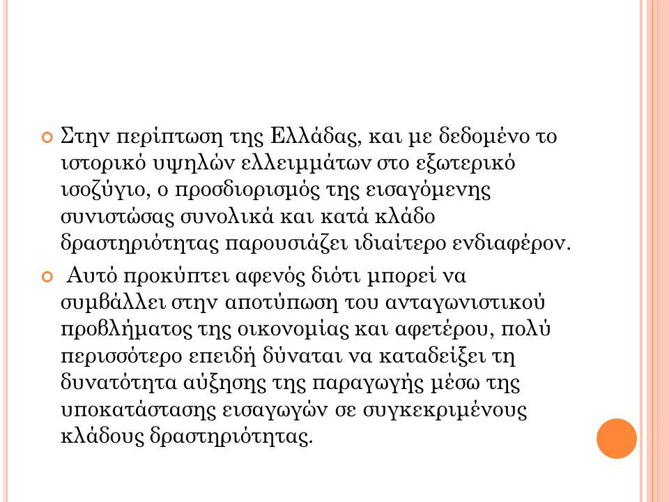 Στην περίπτωση της Ελλάδας, και με δεδομένο το ιστορικό υψηλών ελλειμμάτων στο εξωτερικό ισοζύγιο, ο προσδιορισμός της εισαγόμενης συνιστώσας συνολικά και κατά κλάδο δραστηριότητας παρουσιάζει ιδιαίτερο ενδιαφέρον.