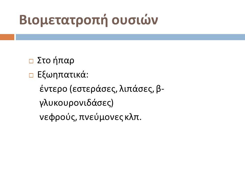 Βιομετατροπή ουσιών  Στο ήπαρ  Εξωηπατικά : έντερο ( εστεράσες, λιπάσες, β - γλυκουρονιδάσες ) νεφρούς, πνεύμονες κλπ.