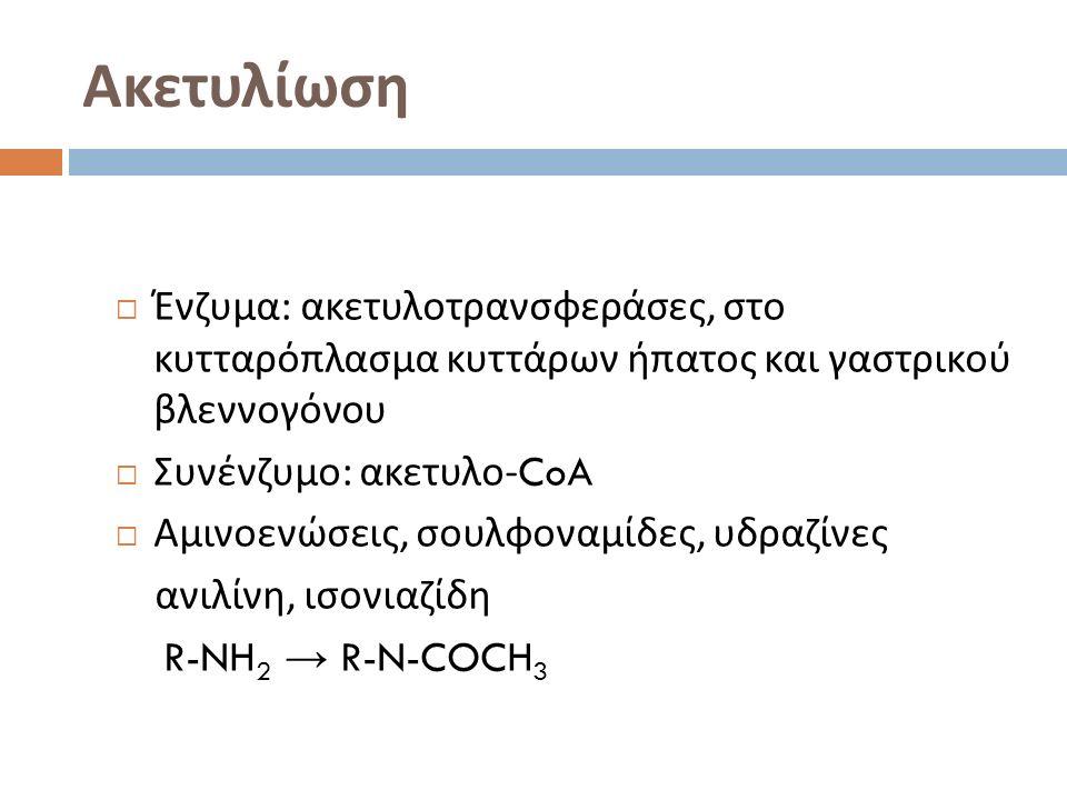 Ακετυλίωση  Ένζυμα : ακετυλοτρανσφεράσες, στο κυτταρόπλασμα κυττάρων ήπατος και γαστρικού βλεννογόνου  Συνένζυμο : ακετυλο -CoA  Αμινοενώσεις, σουλφοναμίδες, υδραζίνες ανιλίνη, ισονιαζίδη R-NH 2 → R-N-COCH 3