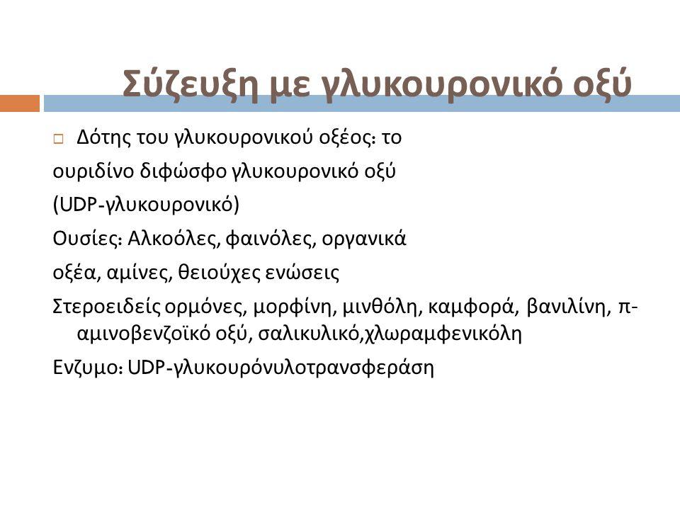 Σύζευξη με γλυκουρονικό οξύ  Δότης του γλυκουρονικού οξέος : το ουριδίνο διφώσφο γλυκουρονικό οξύ (UDP- γλυκουρονικό ) Ουσίες : Αλκοόλες, φαινόλες, οργανικά οξέα, αμίνες, θειούχες ενώσεις Στεροειδείς ορμόνες, μορφίνη, μινθόλη, καμφορά, βανιλίνη, π - αμινοβενζοϊκό οξύ, σαλικυλικό, χλωραμφενικόλη Ενζυμο : UDP- γλυκουρόνυλοτρανσφεράση