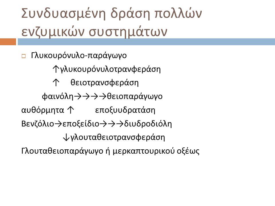 Συνδυασμένη δράση πολλών ενζυμικών συστημάτων  Γλυκουρόνυλο - παράγωγο ↑ γλυκουρόνυλοτρανφεράση ↑ θειοτρανσφεράση φαινόλη →→→→ θειοπαράγωγο αυθόρμητα ↑ εποξυυδρατάση Βενζόλιο → εποξείδιο →→→ διυδροδιόλη ↓ γλουταθειοτρανσφεράση Γλουταθειοπαράγωγο ή μερκαπτουρικού οξέως