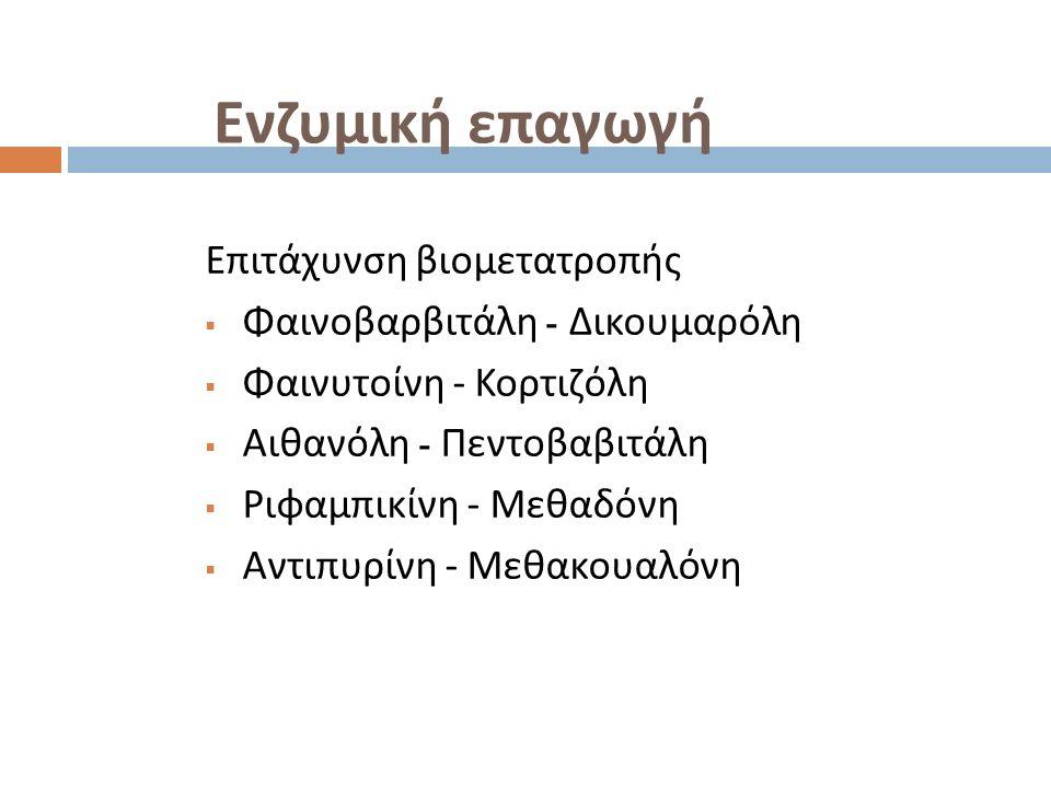 Ενζυμική επαγωγή Επιτάχυνση βιομετατροπής  Φαινοβαρβιτάλη - Δικουμαρόλη  Φαινυτοίνη - Κορτιζόλη  Αιθανόλη - Πεντοβαβιτάλη  Ριφαμπικίνη - Μεθαδόνη  Αντιπυρίνη - Μεθακουαλόνη