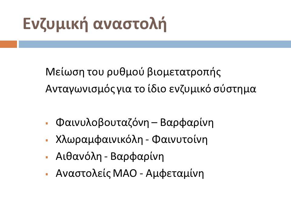 Ενζυμική αναστολή Μείωση του ρυθμού βιομετατροπής Ανταγωνισμός για το ίδιο ενζυμικό σύστημα  Φαινυλοβουταζόνη – Βαρφαρίνη  Χλωραμφαινικόλη - Φαινυτοίνη  Αιθανόλη - Βαρφαρίνη  Αναστολείς ΜΑΟ - Αμφεταμίνη