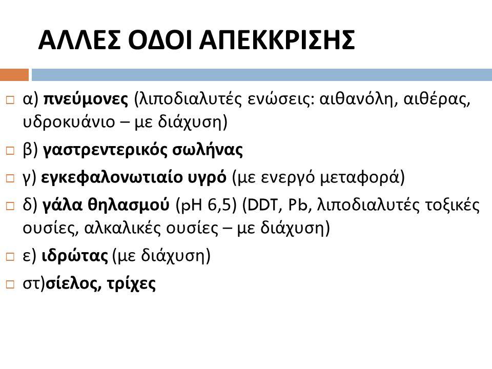 ΑΛΛΕΣ ΟΔΟΙ ΑΠΕΚΚΡΙΣΗΣ  α ) πνεύμονες ( λιποδιαλυτές ενώσεις : αιθανόλη, αιθέρας, υδροκυάνιο – με διάχυση )  β ) γαστρεντερικός σωλήνας  γ ) εγκεφαλονωτιαίο υγρό ( με ενεργό μεταφορά )  δ ) γάλα θηλασμού (pH 6,5) (DDT, Pb, λιποδιαλυτές τοξικές ουσίες, αλκαλικές ουσίες – με διάχυση )  ε ) ιδρώτας ( με διάχυση )  στ ) σίελος, τρίχες