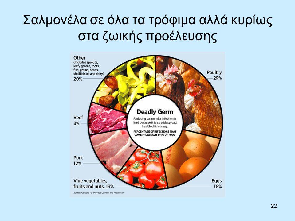22 Σαλμονέλα σε όλα τα τρόφιμα αλλά κυρίως στα ζωικής προέλευσης 22