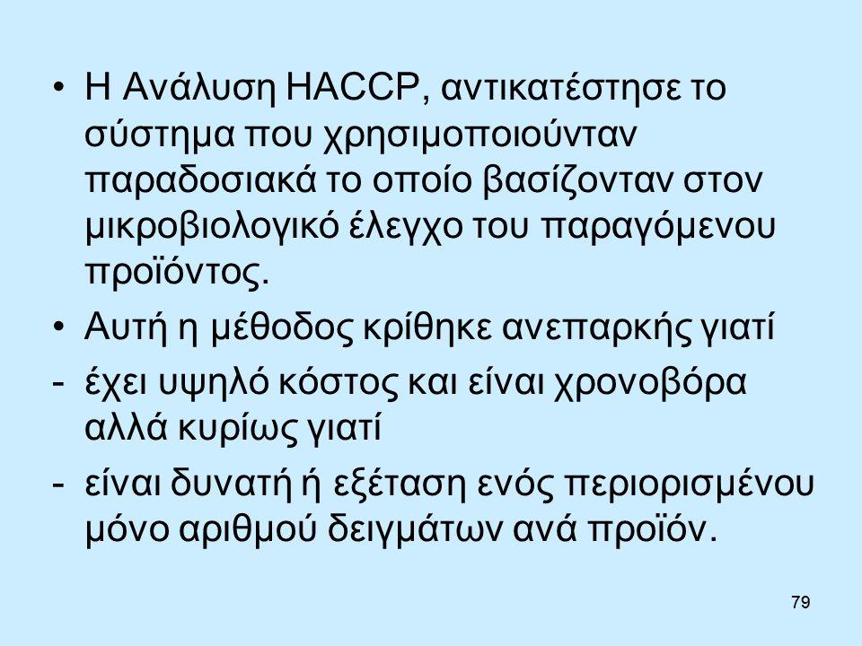 79 Η Ανάλυση HACCP, αντικατέστησε το σύστημα που χρησιμοποιούνταν παραδοσιακά το οποίο βασίζονταν στον μικροβιολογικό έλεγχο του παραγόμενου προϊόντος.