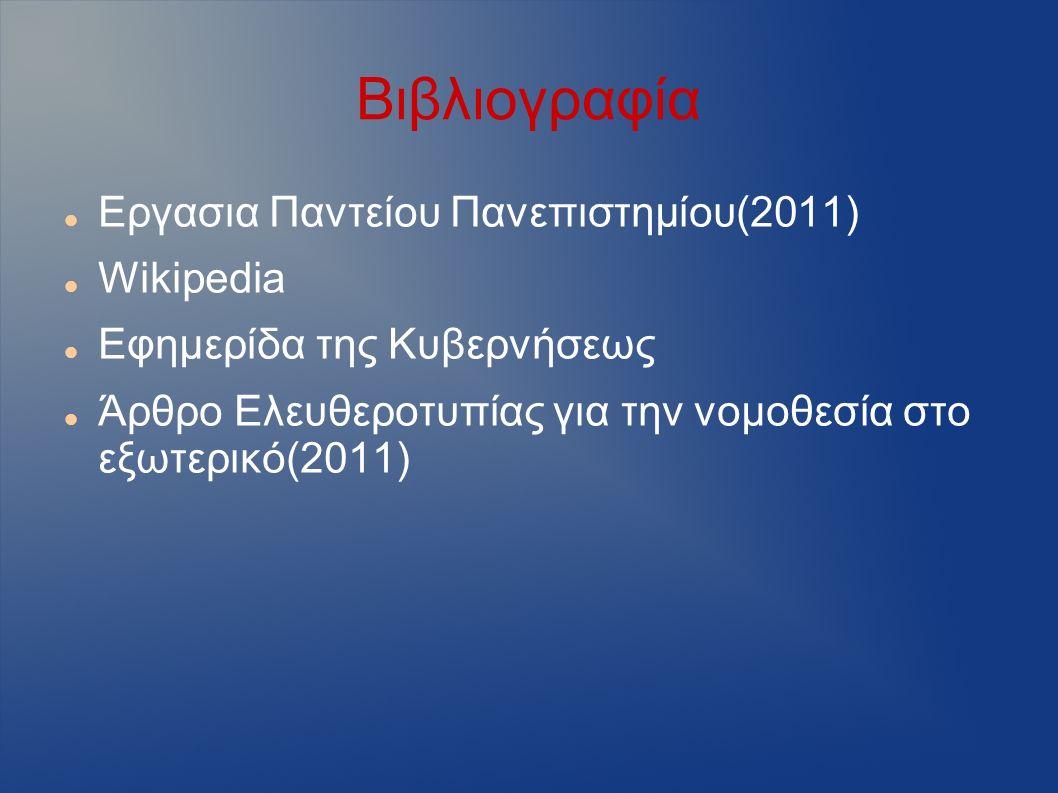 Βιβλιογραφία Εργασια Παντείου Πανεπιστημίου(2011) Wikipedia Εφημερίδα της Κυβερνήσεως Άρθρο Ελευθεροτυπίας για την νομοθεσία στο εξωτερικό(2011)
