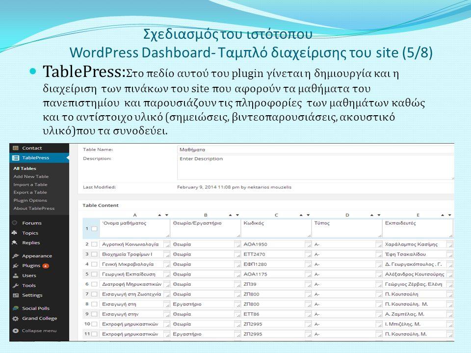 Σχεδιασμός του ιστότοπου WordPress Dashboard- Ταμπλό διαχείρισης του site (5/8) TablePress: Στο πεδίο αυτού του plugin γίνεται η δημιουργία και η διαχείριση των πινάκων του site που αφορούν τα μαθήματα του πανεπιστημίου και παρουσιάζουν τις πληροφορίες των μαθημάτων καθώς και το αντίστοιχο υλικό (σημειώσεις, βιντεοπαρουσιάσεις, ακουστικό υλικό)που τα συνοδεύει.