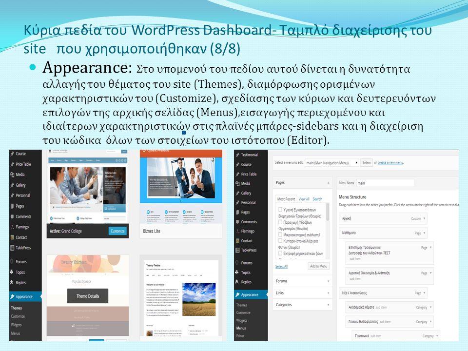 Κύρια πεδία του WordPress Dashboard- Ταμπλό διαχείρισης του site που χρησιμοποιήθηκαν (8/8) Appearance: Στο υπομενού του πεδίου αυτού δίνεται η δυνατότητα αλλαγής του θέματος του site (Τhemes), διαμόρφωσης ορισμένων χαρακτηριστικών του (Customize), σχεδίασης των κύριων και δευτερευόντων επιλογών της αρχικής σελίδας (Μenus),εισαγωγής περιεχομένου και ιδιαίτερων χαρακτηριστικών στις πλαϊνές μπάρες-sidebars και η διαχείριση του κώδικα όλων των στοιχείων του ιστότοπου (Editor).