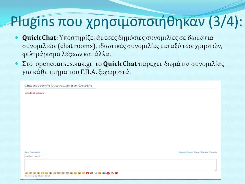 Plugins που χρησιμοποιήθηκαν (3/4): Quick Chat: Υποστηρίζει άμεσες δημόσιες συνομιλίες σε δωμάτια συνομιλιών (chat rooms), ιδιωτικές συνομιλίες μεταξύ των χρηστών, φιλτράρισμα λέξεων και άλλα.