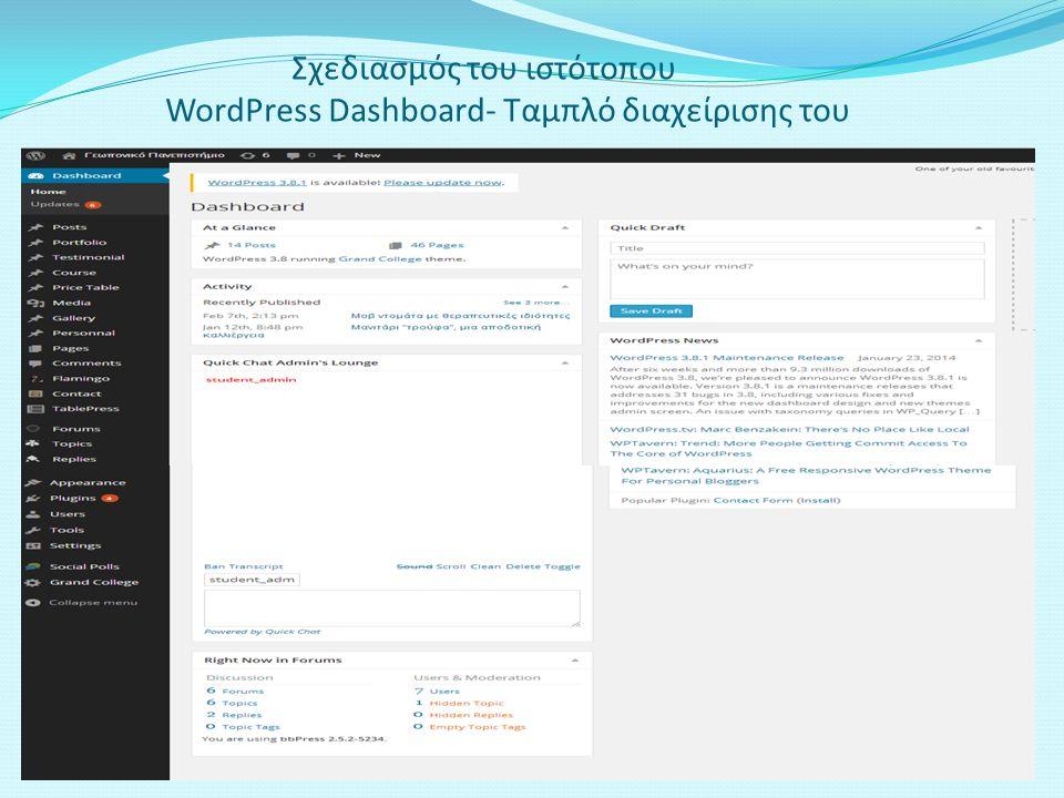 Σχεδιασμός του ιστότοπου WordPress Dashboard- Ταμπλό διαχείρισης του