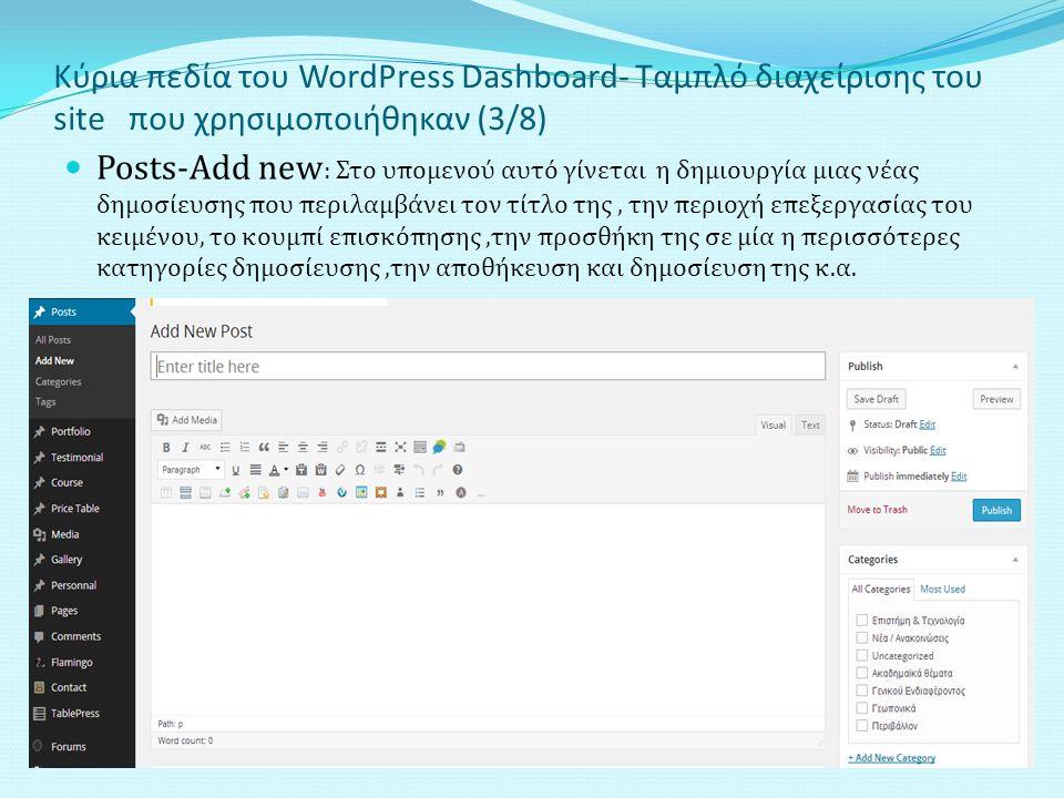 Κύρια πεδία του WordPress Dashboard- Ταμπλό διαχείρισης του site που χρησιμοποιήθηκαν (3/8) Posts-Add new : Στο υπομενού αυτό γίνεται η δημιουργία μιας νέας δημοσίευσης που περιλαμβάνει τον τίτλο της, την περιοχή επεξεργασίας του κειμένου, το κουμπί επισκόπησης,την προσθήκη της σε μία η περισσότερες κατηγορίες δημοσίευσης,την αποθήκευση και δημοσίευση της κ.α.