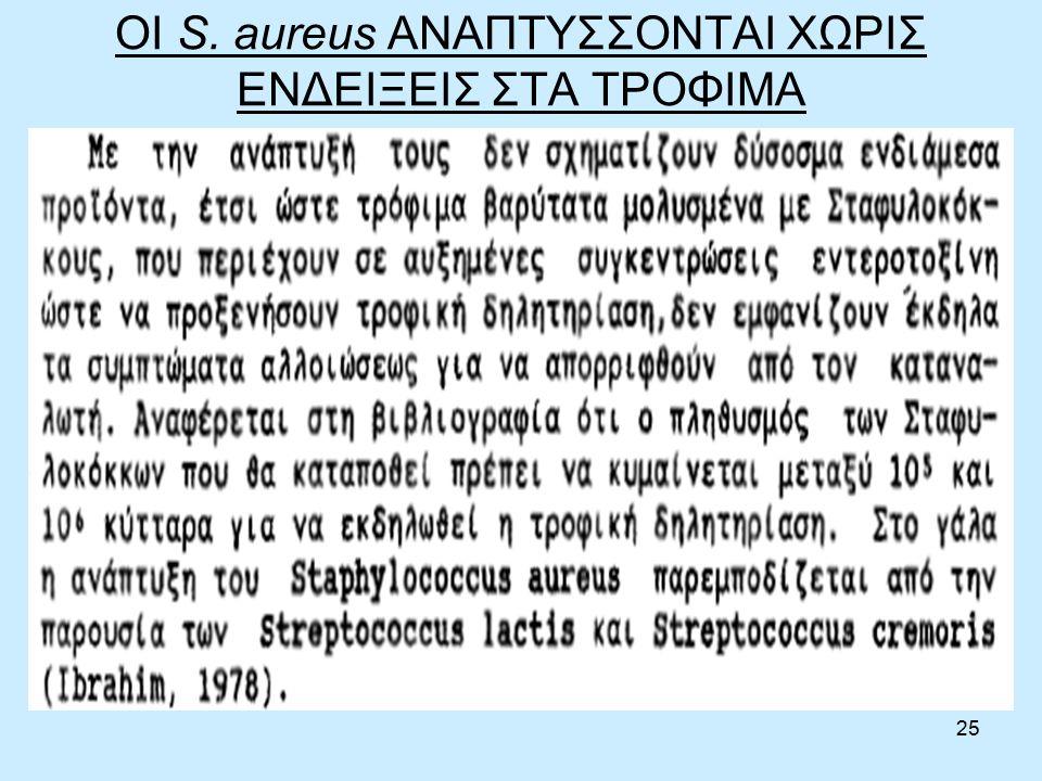 25 ΟΙ S. aureus ΑΝΑΠΤΥΣΣΟΝΤΑΙ ΧΩΡΙΣ ΕΝΔΕΙΞΕΙΣ ΣΤΑ ΤΡΟΦΙΜΑ