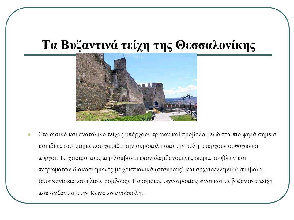 Στο δυτικό και ανατολικό τείχος υπάρχουν τριγωνικοί πρόβολοι, ενώ στα πιο ψηλά σημεία και ιδίως στο τμήμα που χωρίζει την ακρόπολη από την πόλη υπάρχουν ορθογώνιοι πύργοι.