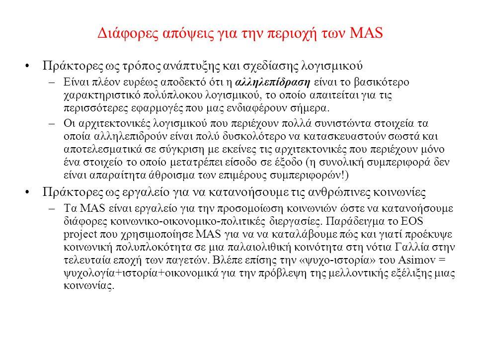 Διάφορες απόψεις για την περιοχή των MAS Πράκτορες ως τρόπος ανάπτυξης και σχεδίασης λογισμικού –Είναι πλέον ευρέως αποδεκτό ότι η αλληλεπίδραση είναι