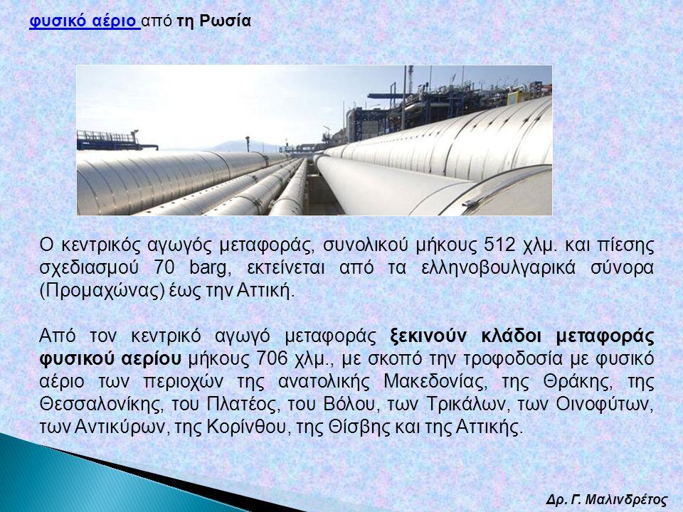 Δρ. Γ. Μαλινδρέτος Ο κεντρικός αγωγός μεταφοράς, συνολικού μήκους 512 χλμ. και πίεσης σχεδιασμού 70 barg, εκτείνεται από τα ελληνοβουλγαρικά σύνορα (Π