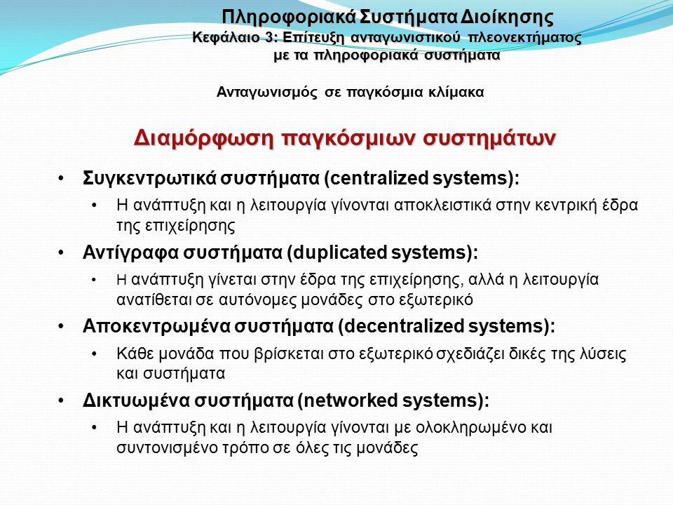 Διαμόρφωση παγκόσμιων συστημάτων Ανταγωνισμός σε παγκόσμια κλίμακα Συγκεντρωτικά συστήματα (centralized systems): Η ανάπτυξη και η λειτουργία γίνονται αποκλειστικά στην κεντρική έδρα της επιχείρησης Αντίγραφα συστήματα (duplicated systems): Η ανάπτυξη γίνεται στην έδρα της επιχείρησης, αλλά η λειτουργία ανατίθεται σε αυτόνομες μονάδες στο εξωτερικό Αποκεντρωμένα συστήματα (decentralized systems): Κάθε μονάδα που βρίσκεται στο εξωτερικό σχεδιάζει δικές της λύσεις και συστήματα Δικτυωμένα συστήματα (networked systems): Η ανάπτυξη και η λειτουργία γίνονται με ολοκληρωμένο και συντονισμένο τρόπο σε όλες τις μονάδες Πληροφοριακά Συστήματα Διοίκησης Κεφάλαιο 3: Επίτευξη ανταγωνιστικού πλεονεκτήματος με τα πληροφοριακά συστήματα