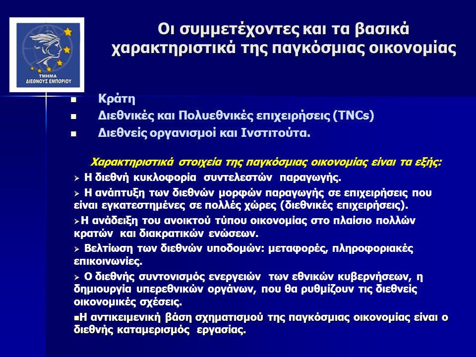 Οι συμμετέχοντες και τα βασικά χαρακτηριστικά της παγκόσμιας οικονομίας Κράτη Διεθνικές και Πολυεθνικές επιχειρήσεις (TNCs) Διεθνείς οργανισμοί και Ινστιτούτα.