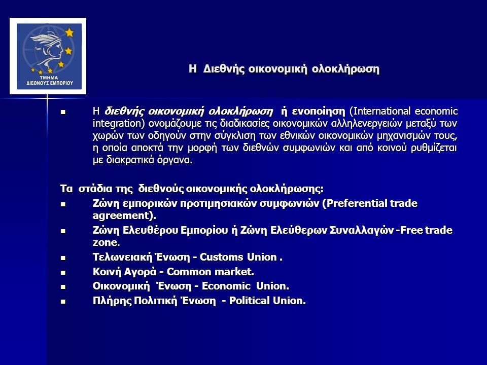 H Διεθνής οικονομική ολοκλήρωση H Διεθνής οικονομική ολοκλήρωση Η διεθνής οικονομική ολοκλήρωση ή ενοποίηση (International economic integration) ονομάζουμε τις διαδικασίες οικονομικών αλληλενεργειών μεταξύ των χωρών των οδηγούν στην σύγκλιση των εθνικών οικονομικών μηχανισμών τους, η οποία αποκτά την μορφή των διεθνών συμφωνιών και από κοινού ρυθμίζεται με διακρατικά όργανα.