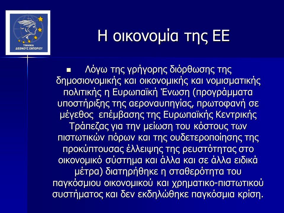 Η οικονομία της ΕΕ Η οικονομία της ΕΕ Λόγω της γρήγορης διόρθωσης της δημοσιονομικής και οικονομικής και νομισματικής πολιτικής η Ευρωπαϊκή Ένωση (προγράμματα υποστήριξης της αεροναυπηγίας, πρωτοφανή σε μέγεθος επέμβασης της Ευρωπαϊκής Κεντρικής Τράπεζας για την μείωση του κόστους των πιστωτικών πόρων και της ουδετεροποίησης της προκύπτουσας έλλειψης της ρευστότητας στο οικονομικό σύστημα και άλλα και σε άλλα ειδικά μέτρα) διατηρήθηκε η σταθερότητα του παγκόσμιου οικονομικού και χρηματικο-πιστωτικού συστήματος και δεν εκδηλώθηκε παγκόσμια κρίση.