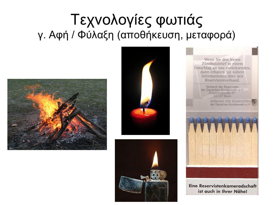 Τεχνολογίες φωτιάς γ. Αφή / Φύλαξη (αποθήκευση, μεταφορά)