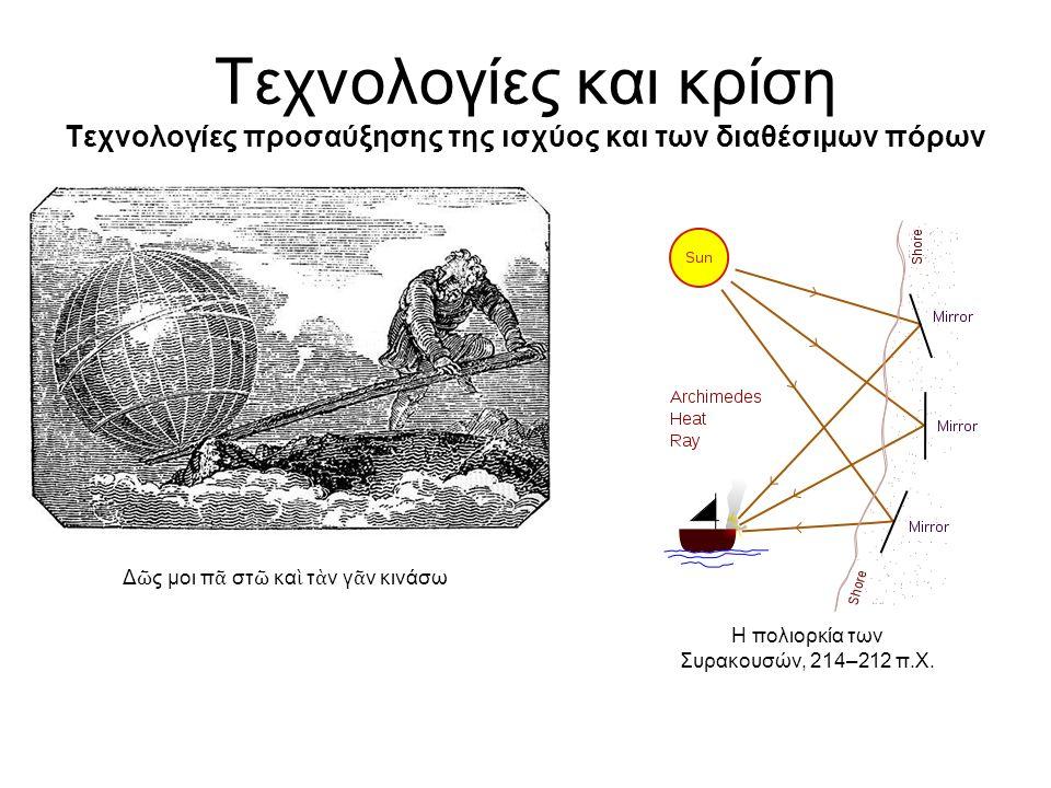 Τεχνολογίες και κρίση Τεχνολογίες προσαύξησης της ισχύος και των διαθέσιμων πόρων Δ ῶ ς μοι π ᾶ στ ῶ κα ὶ τ ὰ ν γ ᾶ ν κινάσω Η πολιορκία των Συρακουσών, 214–212 π.Χ.