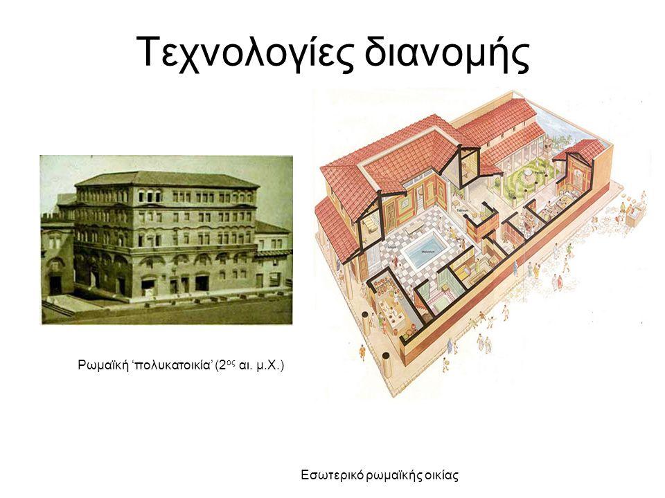 Τεχνολογίες διανομής Ρωμαϊκή 'πολυκατοικία' (2 ος αι. μ.Χ.) Εσωτερικό ρωμαϊκής οικίας