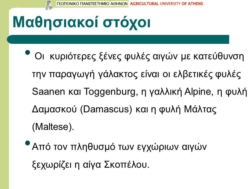 Μαθησιακοί στόχοι Οι κυριότερες ξένες φυλές αιγών με κατεύθυνση την παραγωγή γάλακτος είναι οι ελβετικές φυλές Saanen και Toggenburg, η γαλλική Alpine, η φυλή Δαμασκού (Damascus) και η φυλή Μάλτας (Maltese).
