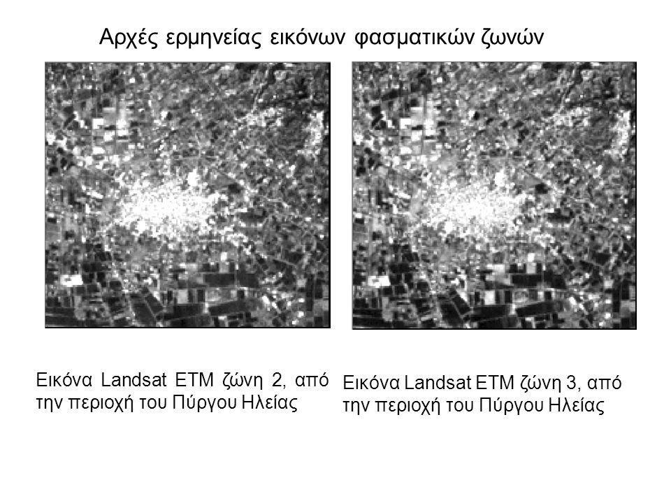 Αρχές ερμηνείας εικόνων φασματικών ζωνών Εικόνα Landsat ETM ζώνη 2, από την περιοχή του Πύργου Ηλείας Εικόνα Landsat ETM ζώνη 3, από την περιοχή του Πύργου Ηλείας