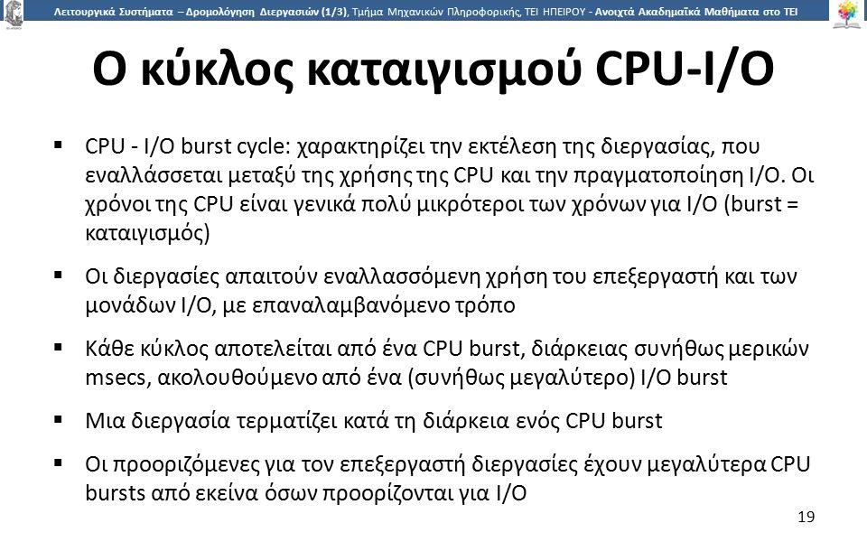 1919 Λειτουργικά Συστήματα – Δρομολόγηση Διεργασιών (1/3), Τμήμα Μηχανικών Πληροφορικής, ΤΕΙ ΗΠΕΙΡΟΥ - Ανοιχτά Ακαδημαϊκά Μαθήματα στο ΤΕΙ Ηπείρου Ο κύκλος καταιγισμού CPU-I/O  CPU - I/O burst cycle: χαρακτηρίζει την εκτέλεση της διεργασίας, που εναλλάσσεται μεταξύ της χρήσης της CPU και την πραγματοποίηση I/O.