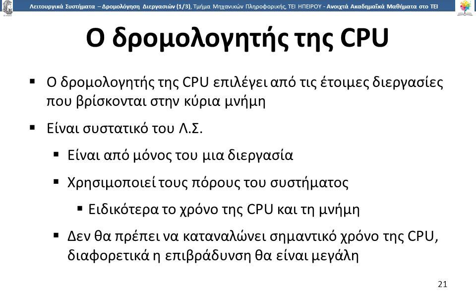 2121 Λειτουργικά Συστήματα – Δρομολόγηση Διεργασιών (1/3), Τμήμα Μηχανικών Πληροφορικής, ΤΕΙ ΗΠΕΙΡΟΥ - Ανοιχτά Ακαδημαϊκά Μαθήματα στο ΤΕΙ Ηπείρου Ο δρομολογητής της CPU  Ο δρομολογητής της CPU επιλέγει από τις έτοιμες διεργασίες που βρίσκονται στην κύρια μνήμη  Είναι συστατικό του Λ.Σ.