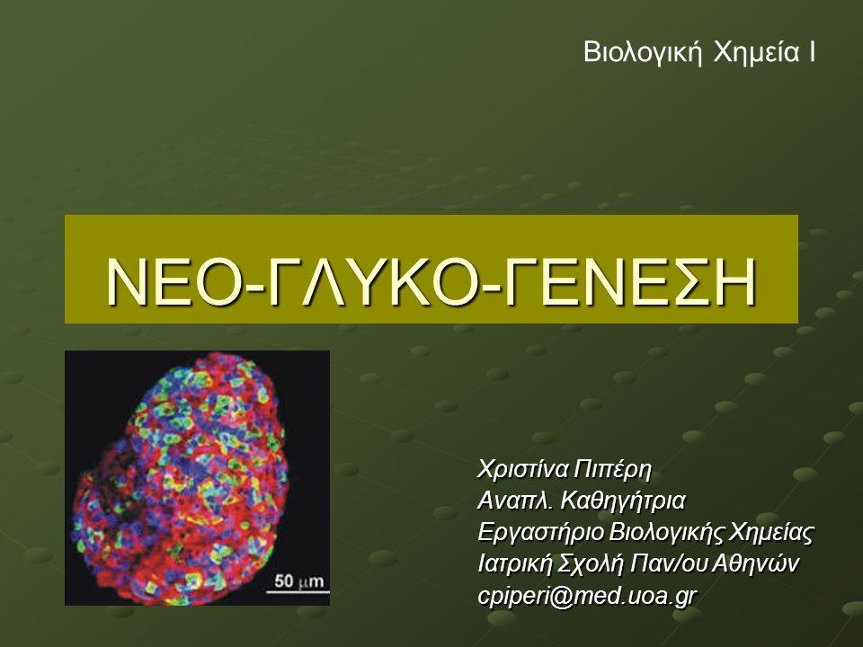 Νεογλυκογένεση Σύνθεση της γλυκόζης από απλά οργανικά μόρια, μη υδατανθρακούχες ενώσεις: Γαλακτικό οξύ Πυροσταφυλικό οξύ Γλυκερόλη Αμινοξέα -Σπουδαιότητα της μεταβολικής αυτής διεργασίας για εγκέφαλο, νευρικό σύστημα, ερυθροκύτταρα, όρχεις – όταν τα αποθέματα γλυκογόνου δεν είναι επαρκή (π.χ.