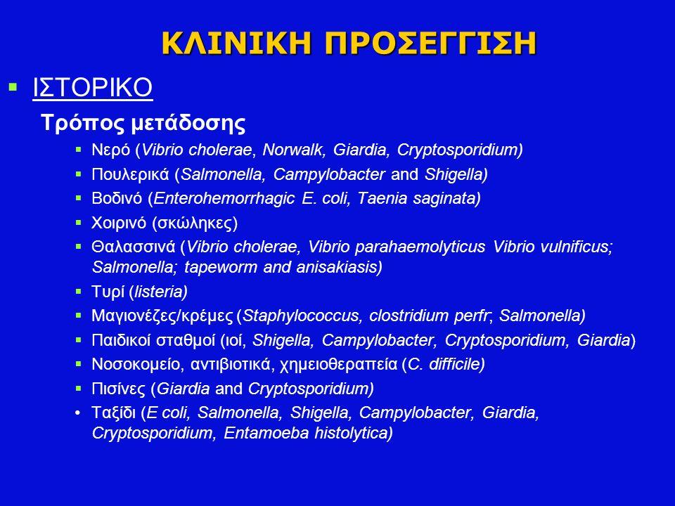 ΚΛΙΝΙΚΗ ΠΡΟΣΕΓΓΙΣΗ  ΙΣΤΟΡΙΚΟ Τρόπος μετάδοσης  Νερό (Vibrio cholerae, Norwalk, Giardia, Cryptosporidium)  Πουλερικά (Salmonella, Campylobacter and