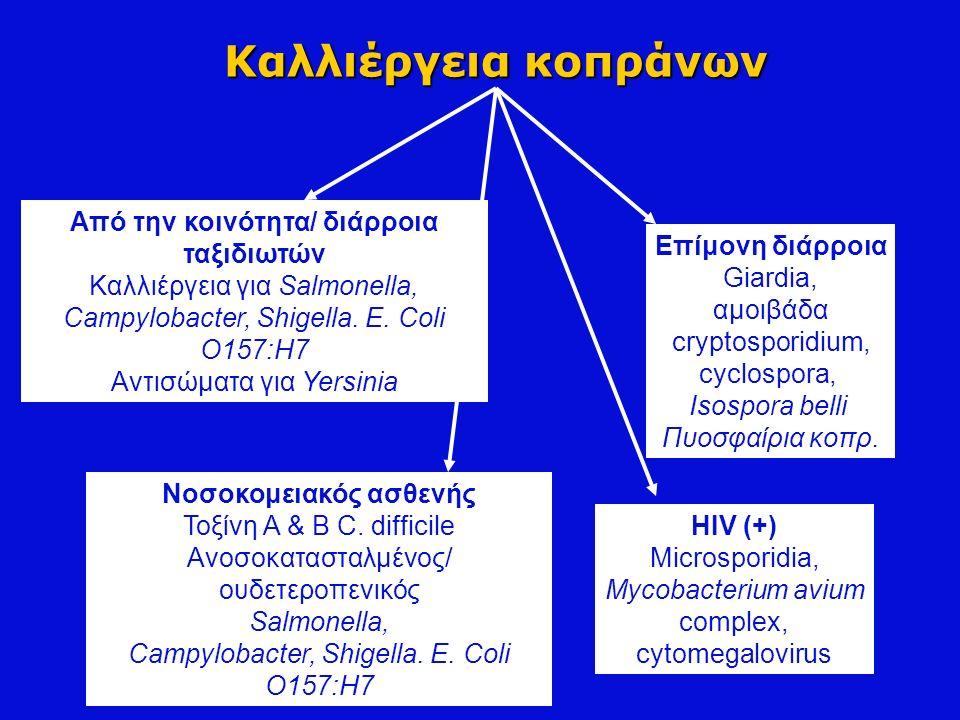 Καλλιέργεια κοπράνων Από την κοινότητα/ διάρροια ταξιδιωτών Καλλιέργεια για Salmonella, Campylobacter, Shigella. Ε. Coli O157:H7 Αντισώματα για Yersin